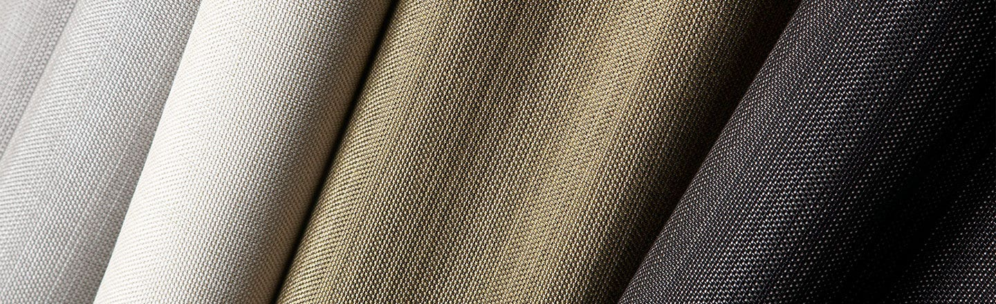 Close up of Sunbrella Alloy fabric in earth tones