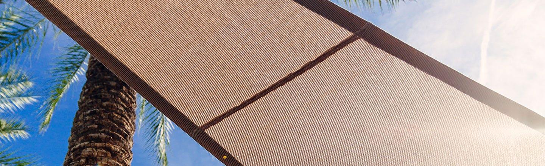 Brown Sunbrella Countour fabric in the sunlight