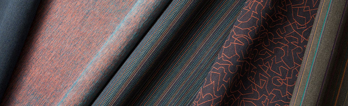 Coral and blue patterned woven fabrics