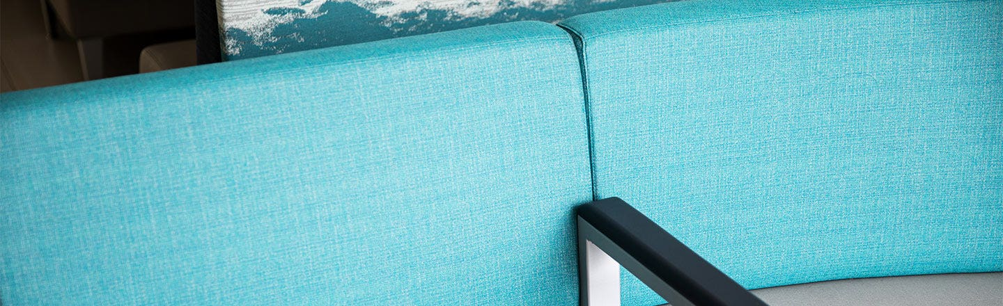 Teal fabric upholstery couch